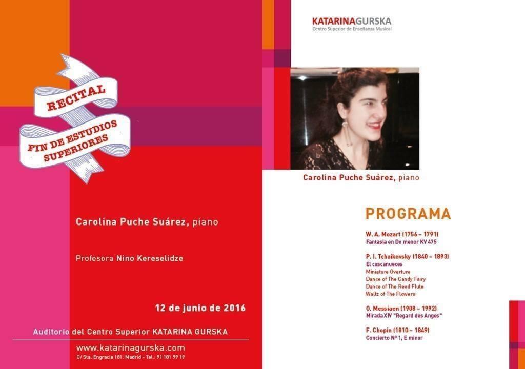 Programa Centro Superior de Enseñanza Musical Katarina Gurska - W.A.Mozart – P.I.Tchaikovsky – O.Messiaen